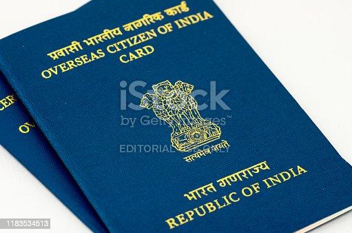 New Delhi, India - October 05 2019: Close up of Overseas Citizen of India identity card in New Delhi, India