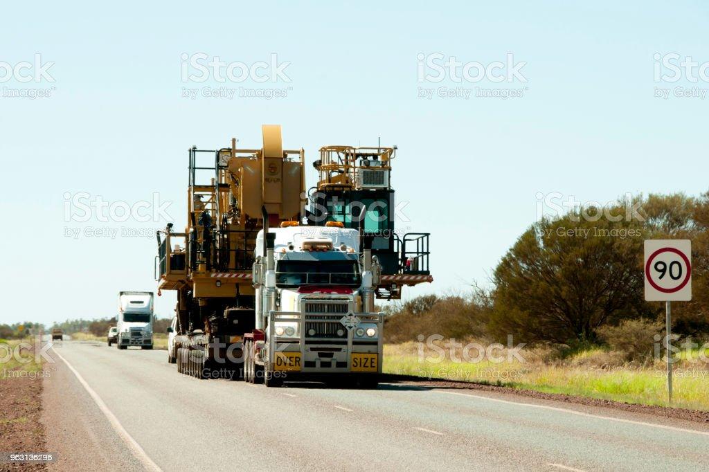 Oversize Heavy Machinery Transport Oversize Heavy Machinery Transport Australia Stock Photo