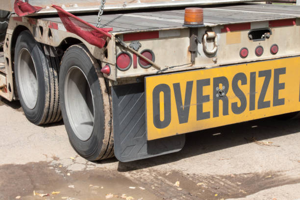 Oversize Load sign on the back of a semi truck