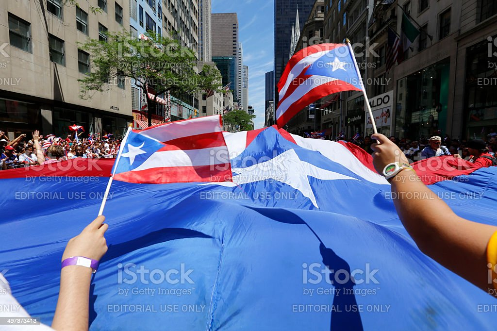 Oversize Puerto Rican Flag along Fifth Avenue stock photo