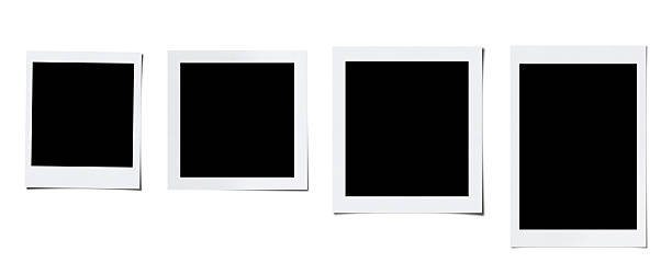 oversized four blank photo (clipping path) - polaroid stockfoto's en -beelden
