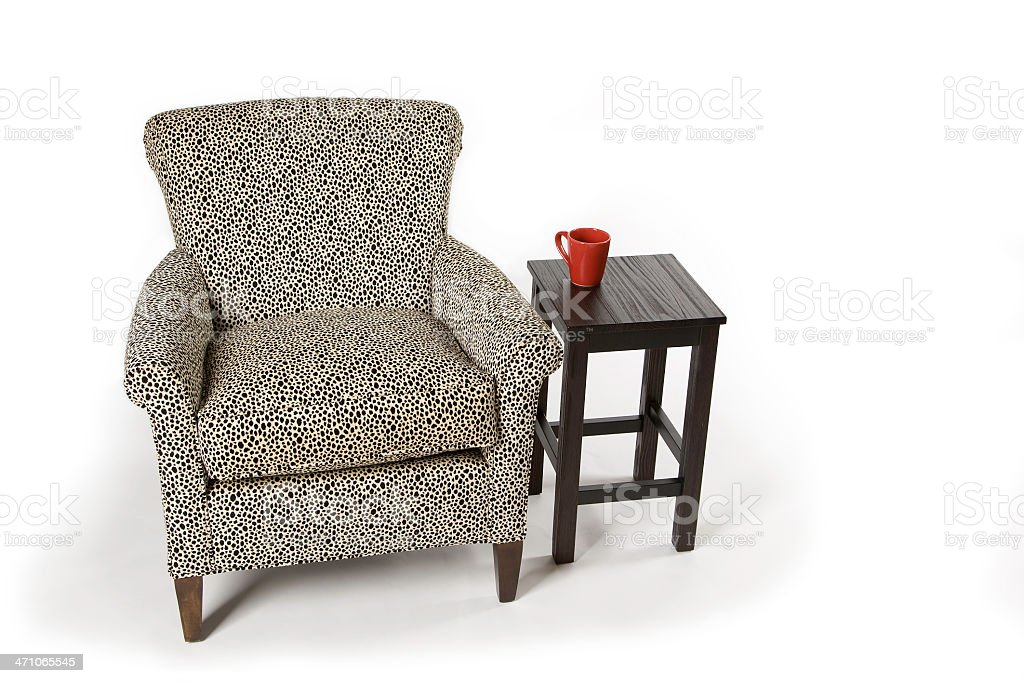 Overstuffed Armchair with Coffee Cup royalty-free stock photo