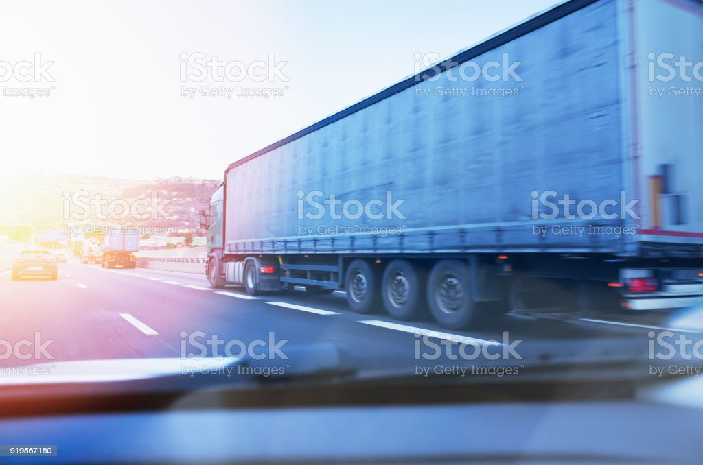 Overtaking Articulated Truck on Motorway royalty-free stock photo
