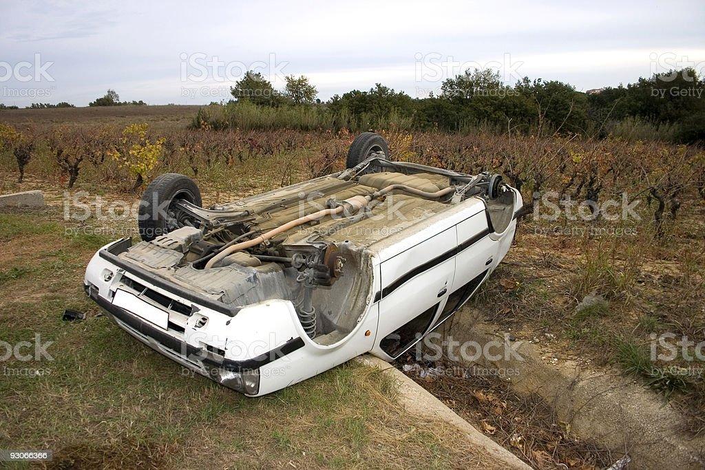Overturned car stock photo