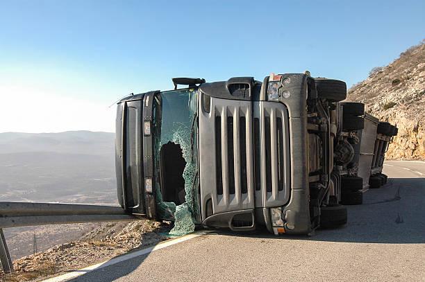 Overturned Truck stock photo