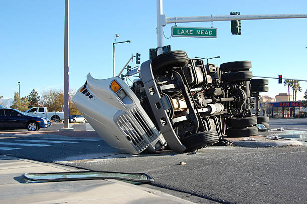 Overturned Truck  misfortune stock pictures, royalty-free photos & images