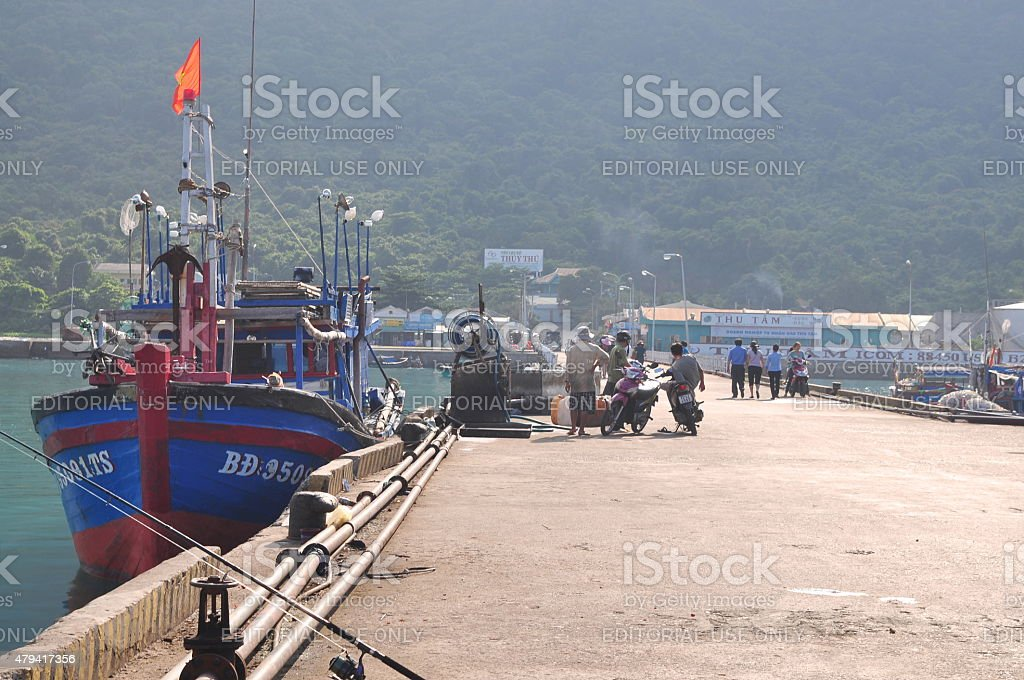 Overview at the seaport of Con Dao island stock photo