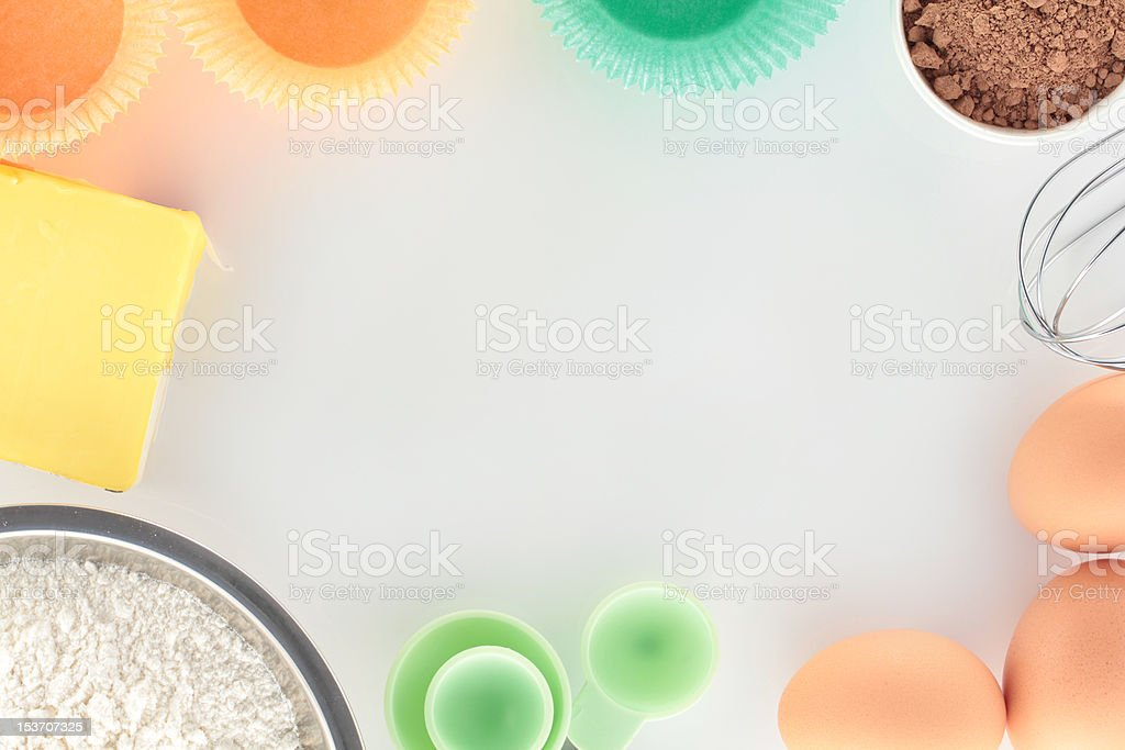 Overview Baking Cupcakes on White Bench royalty-free stock photo