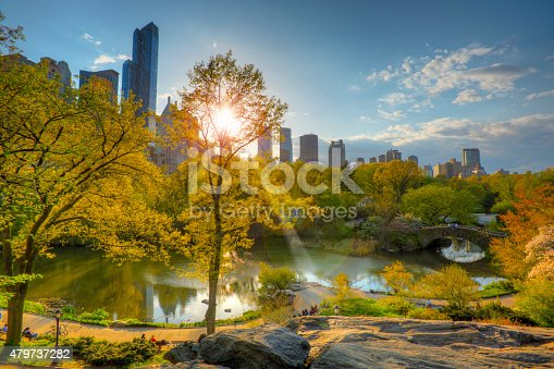 Central Park is an urban park in the central part of the borough of Manhattan, New York City. It was initially opened in 1857, on 778 acres (315 ha) of city-owned land, later expanding to its current size of 843 acres (341 ha)