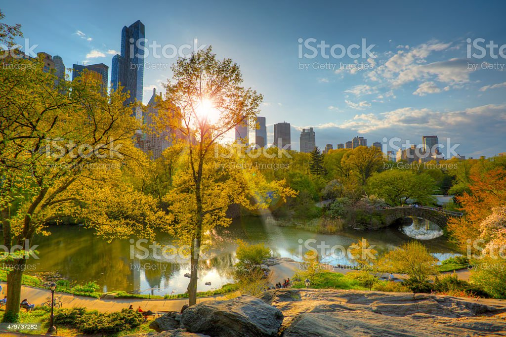 Overview Central Park New York City at sunset stock photo