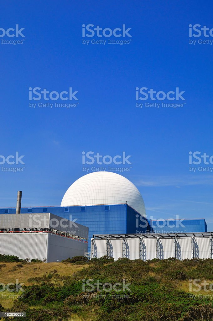 Overview from a distance of nuclear reactor stock photo