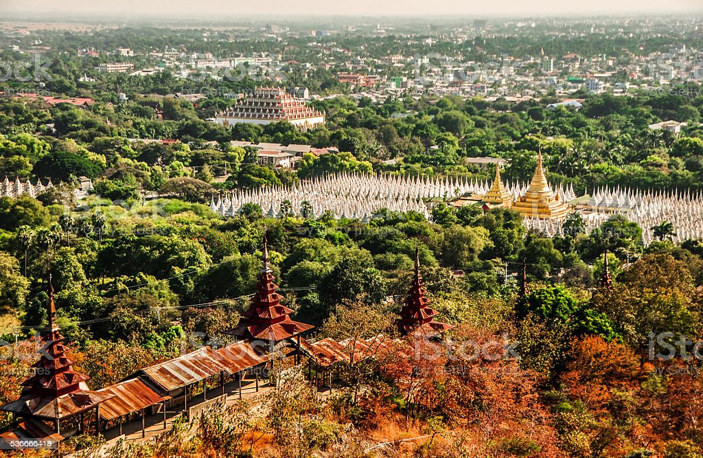 Overview Mandalay city from the hill stock photo