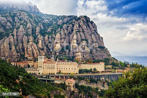 Santa Maria de Montserrat monastery. Monastery on mountain near Barcelona, in Catalonia
