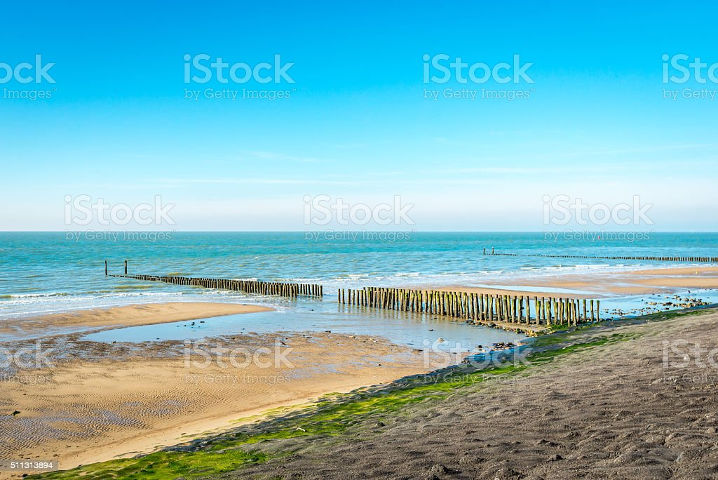 Overview of a part of the Dutch North Sea coast stock photo