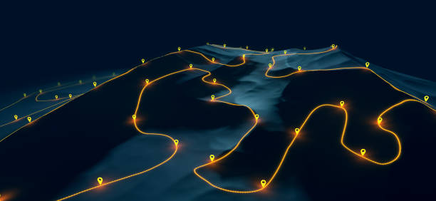 Overview of a winding hiking trail through the mountains with waypoints - 3d illustration stock photo