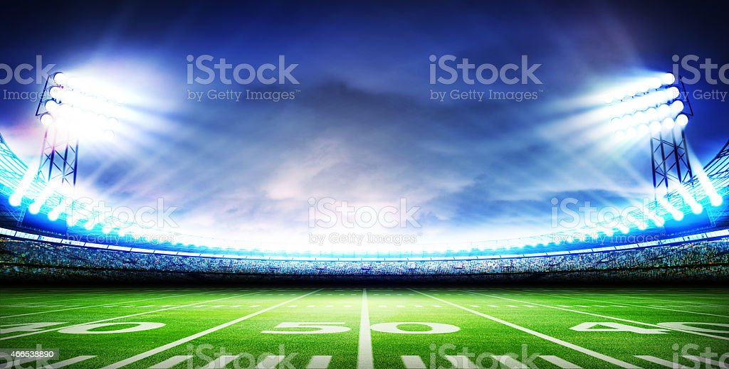 Overview of American football stadium stock photo