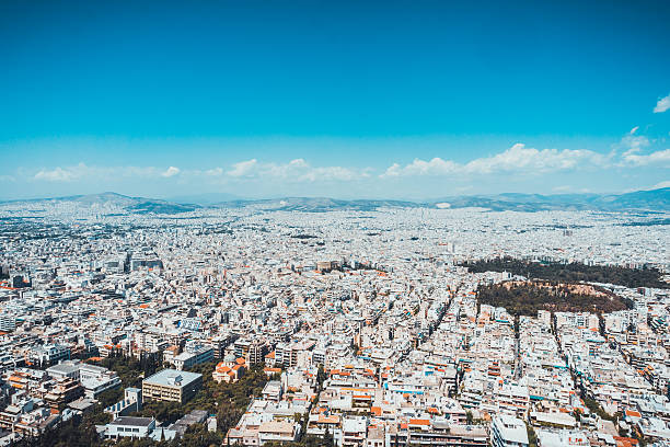 Overview of Athen at Greece with beautiful sky stock photo