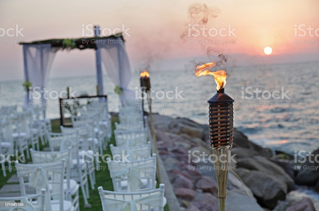 Overview of beautiful wedding ceremony at sunset stock photo