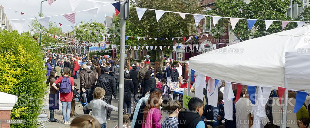 Overview of British Street Party During The Queen's Diamond Jubilee stock photo