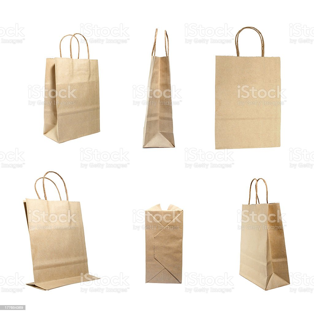 Overview of brown paper bag isolated on a white background royalty-free stock photo