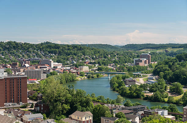 Overview of City of Morgantown WV stock photo