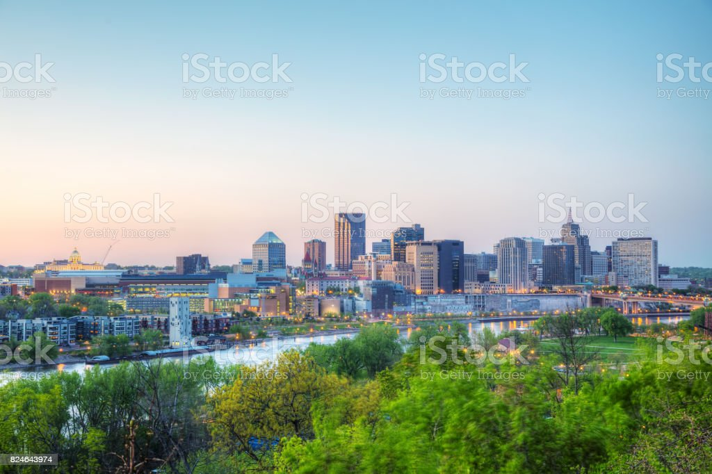 Overview of downtown St. Paul, MN stock photo