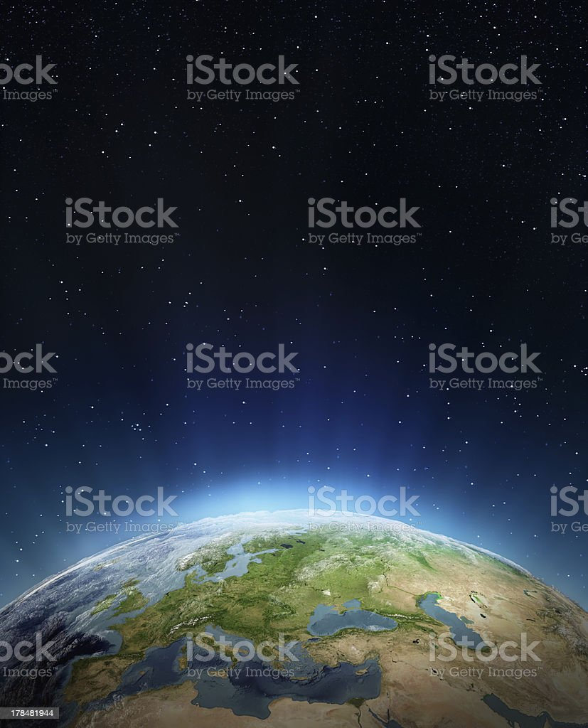 Overview of edge of the earth from outer space stock photo