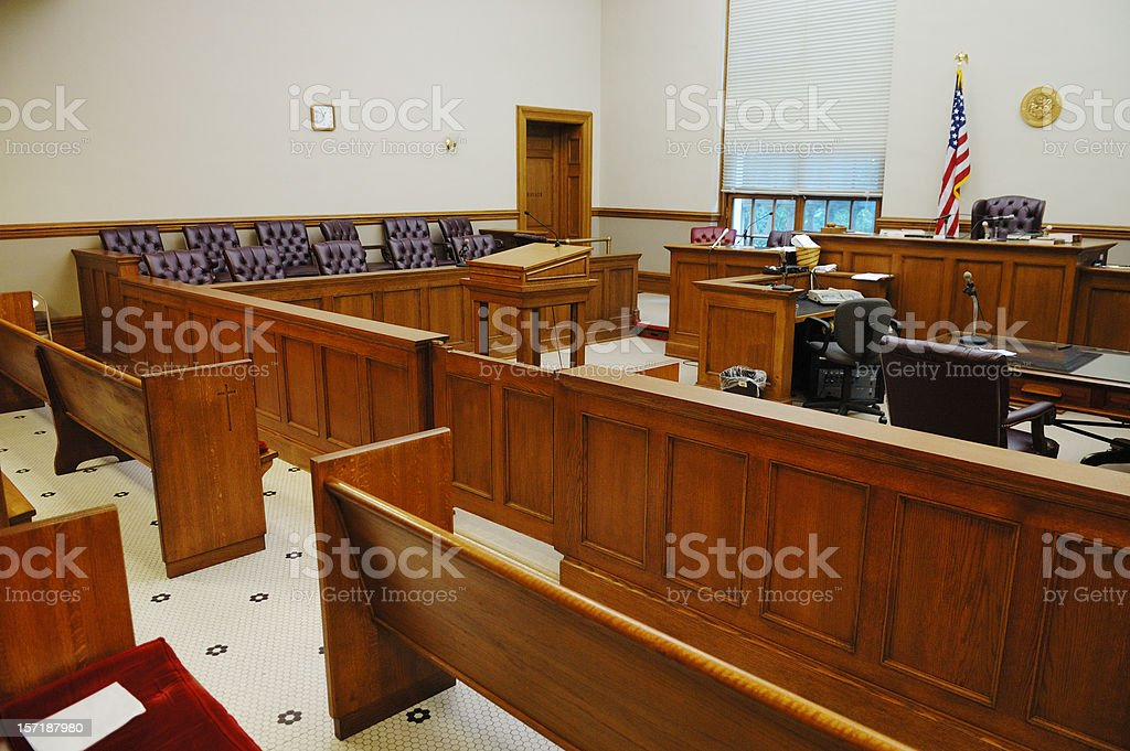 Overview of empty American courtroom royalty-free stock photo
