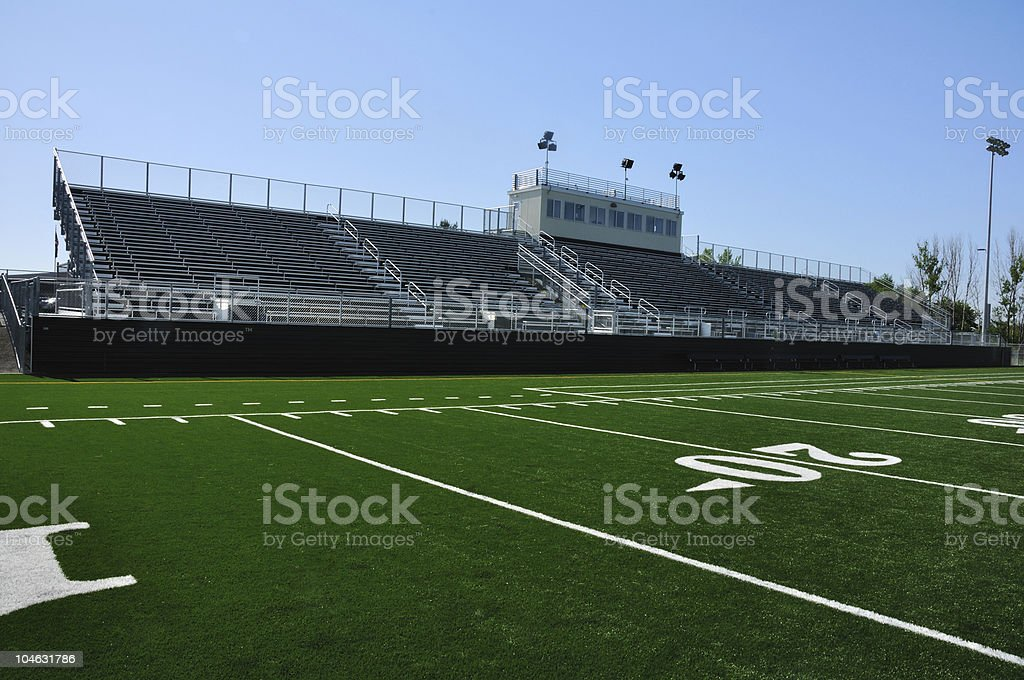 Overview of empty American high school football stadium royalty-free stock photo