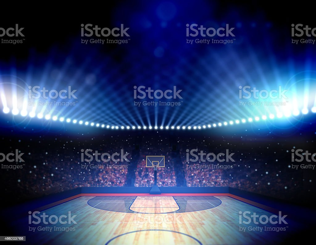 Overview of illuminated basketball arena stock photo