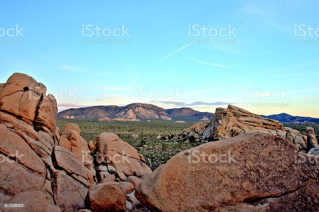 Overview of Joshua Tree National Park at Sunset, USA stock photo