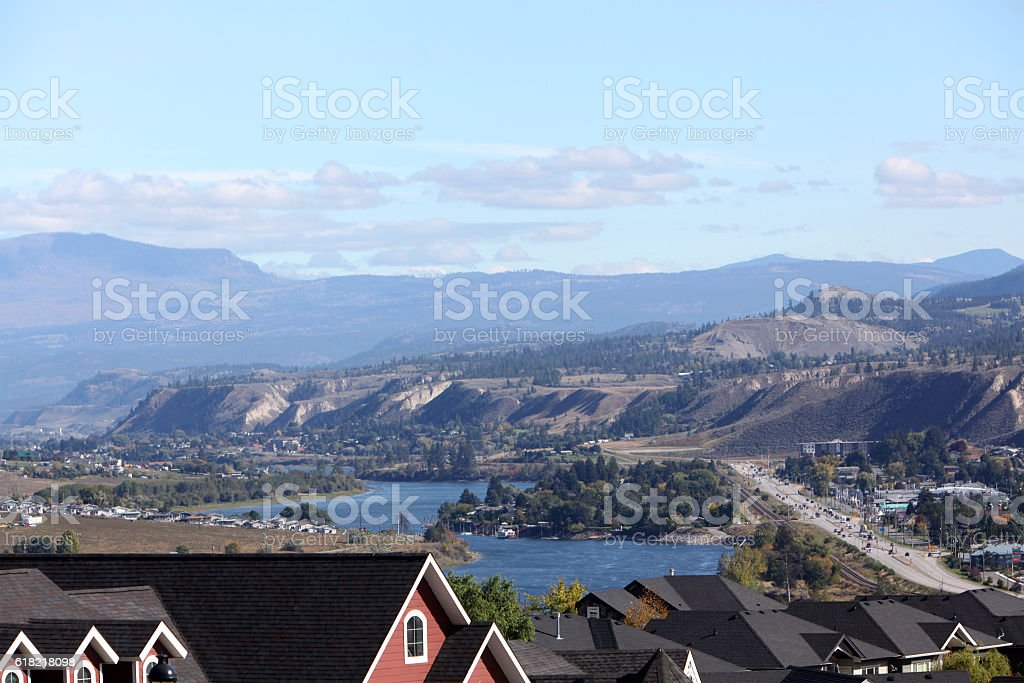 Overview of Kamloops BC And The Thompson River stock photo