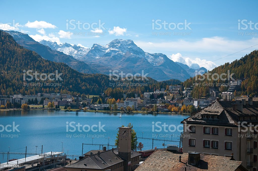 Overview of Lake St. Moritz, Switzerland stock photo