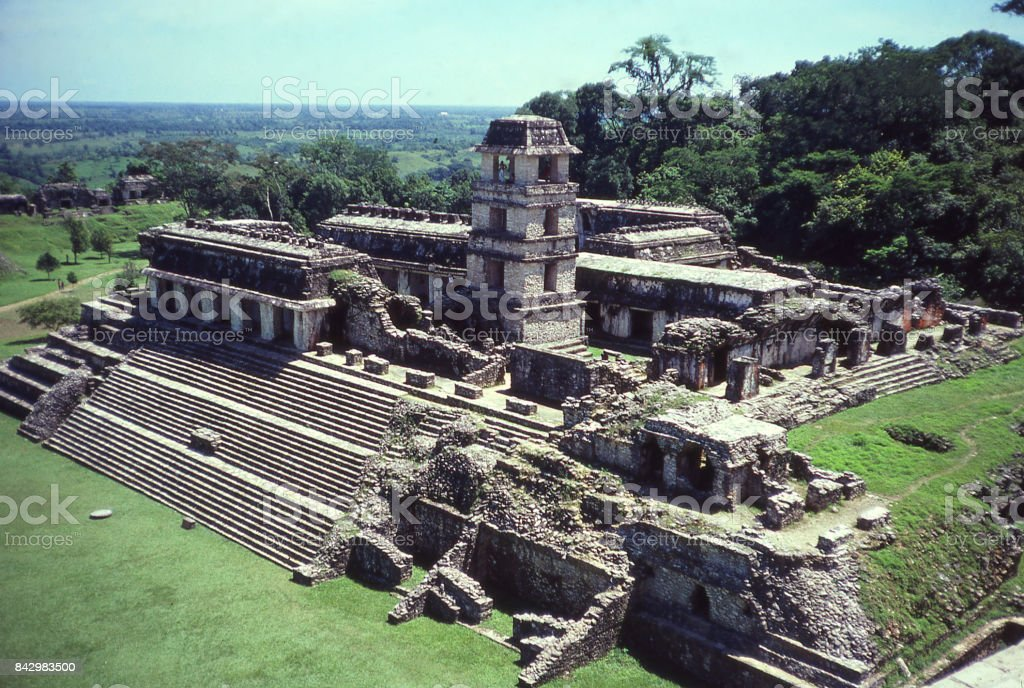 Overview of Mayan Archeological ruins in Palenque Tabasco Mexico and background of rainforest stock photo