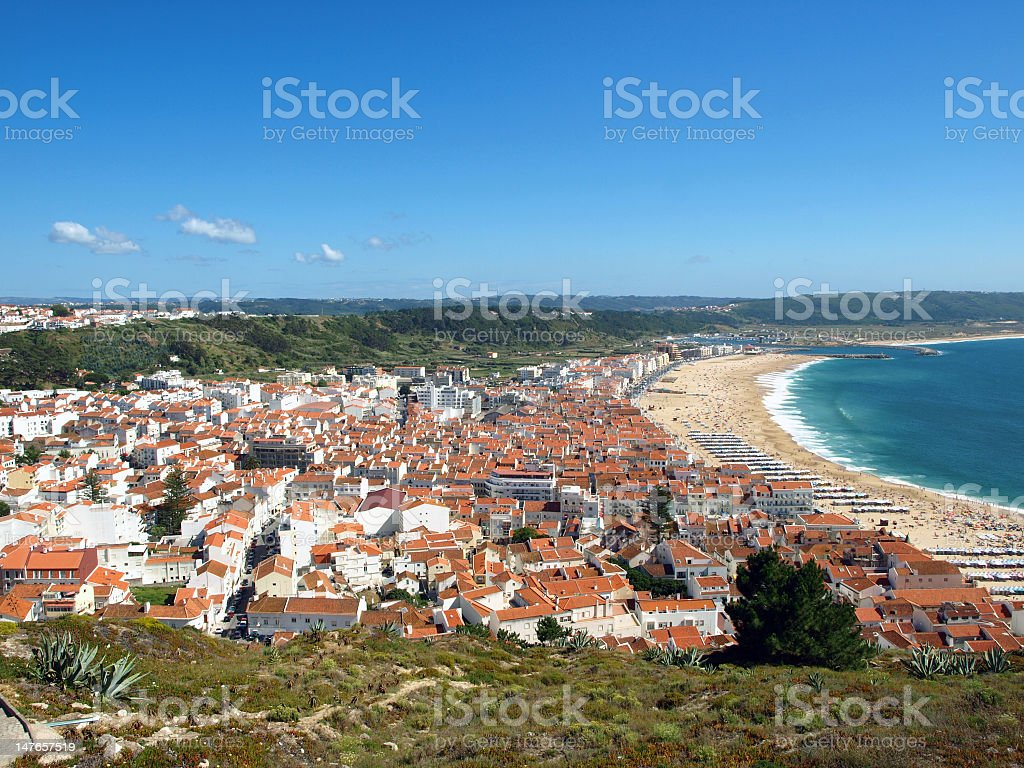 Overview of Nazare Portugal stock photo