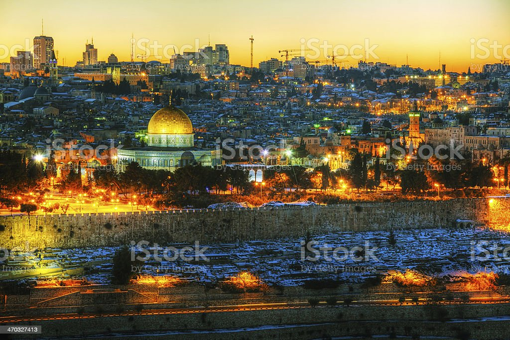 Overview of Old City in Jerusalem, Israel stock photo