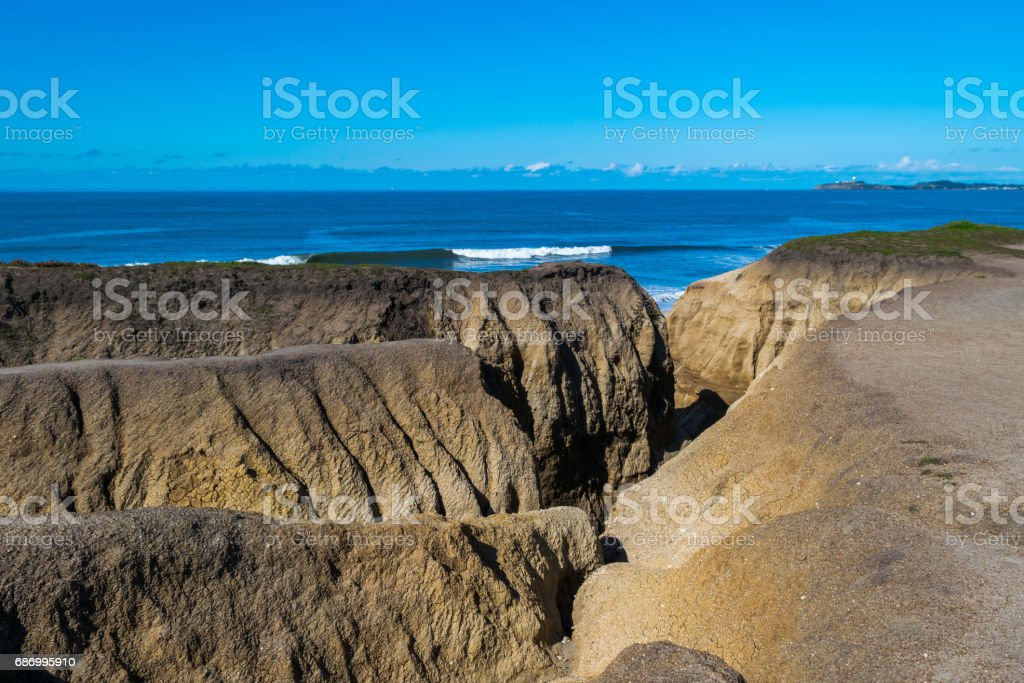 Overview of Pacific Ocean Coastline at Half Moon Bay, California, North America, USA stock photo