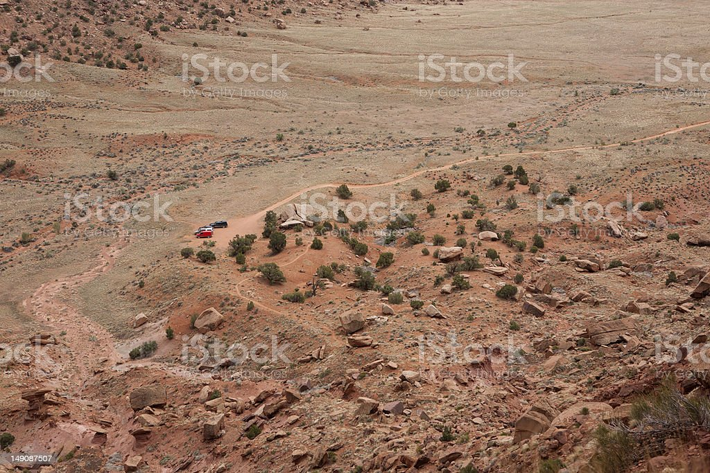 Overview of parked cars at Indian Creek Recreation Area stock photo