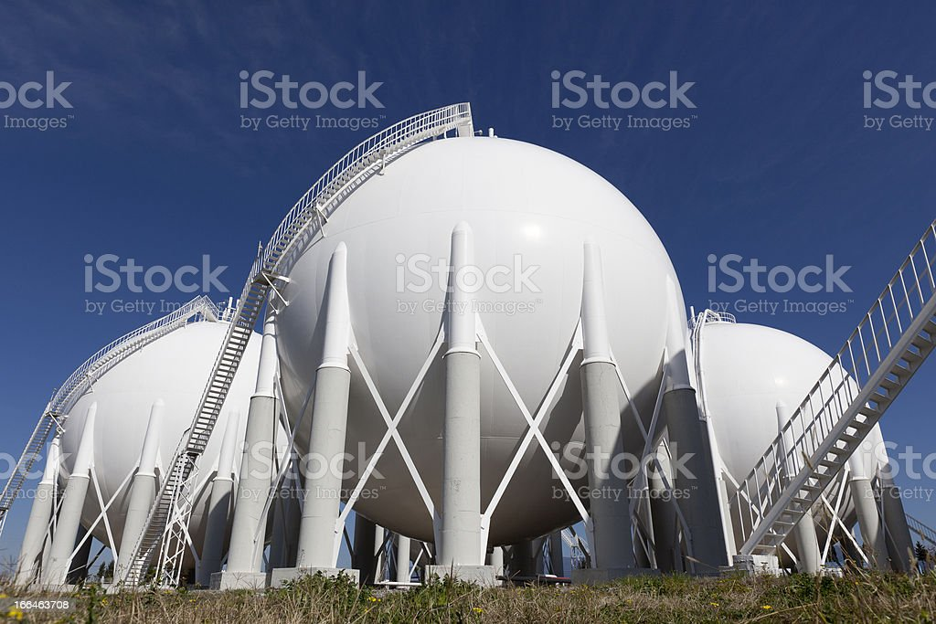 Overview of petroleum storage tanks on petrochemical plant stock photo