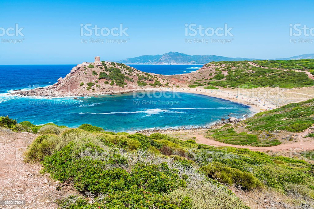 Overview of Porticciolo beach in Sardinia stock photo