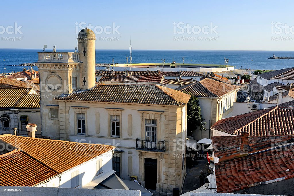 Overview of Saintes-Maries-de-la-Mer stock photo