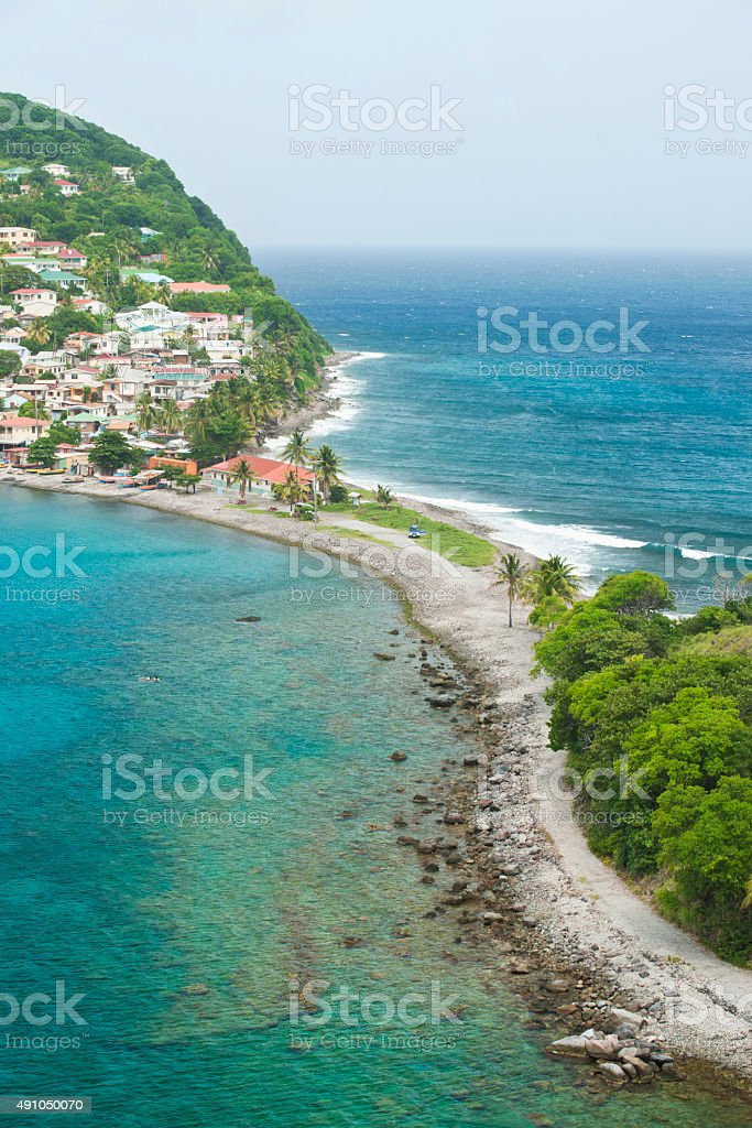 Overview of Scott's Head bay, Dominica stock photo