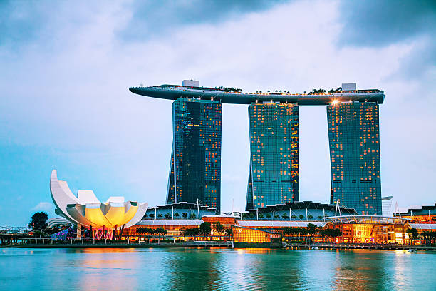 overview of singapore with marina bay sands - marina bay sands stock photos and pictures