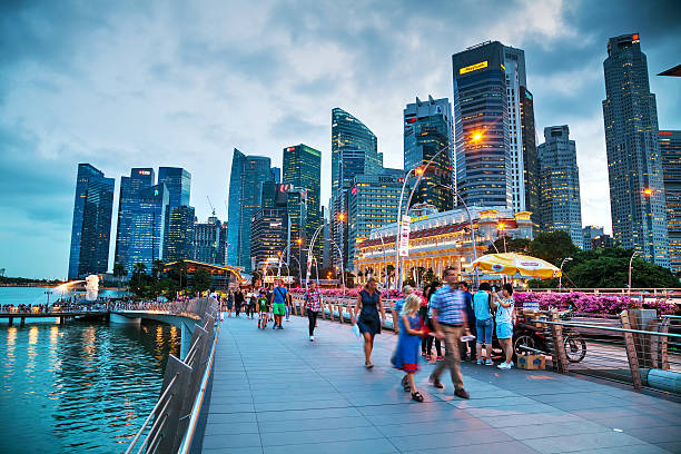 Overview of Singapore with the Merlion stock photo