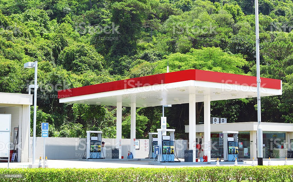 Overview of small gas station fuel center stock photo