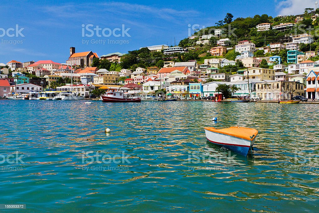 Overview of The Carenage, St. Georges, Grenada W.I stock photo