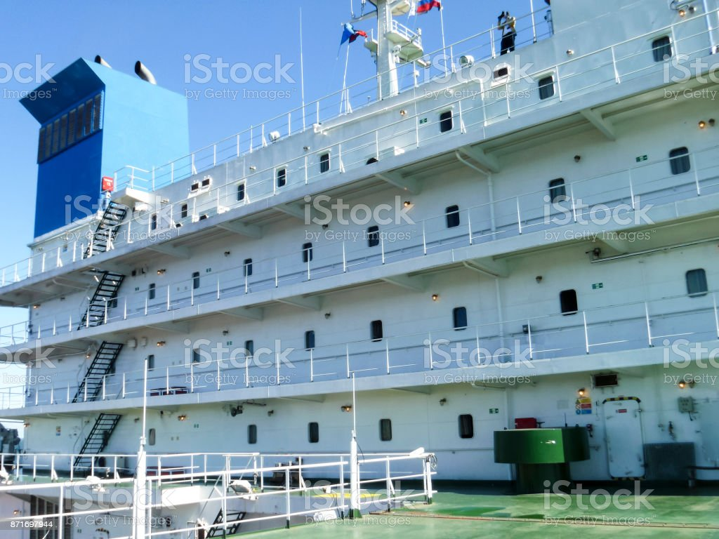 Overview of the deck of a pipe lay vessel. The ship's deck. stock photo