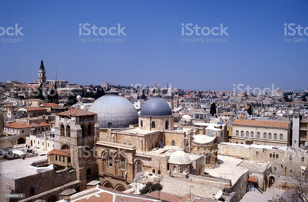 Overview of the Old city Jerusalem royalty-free stock photo