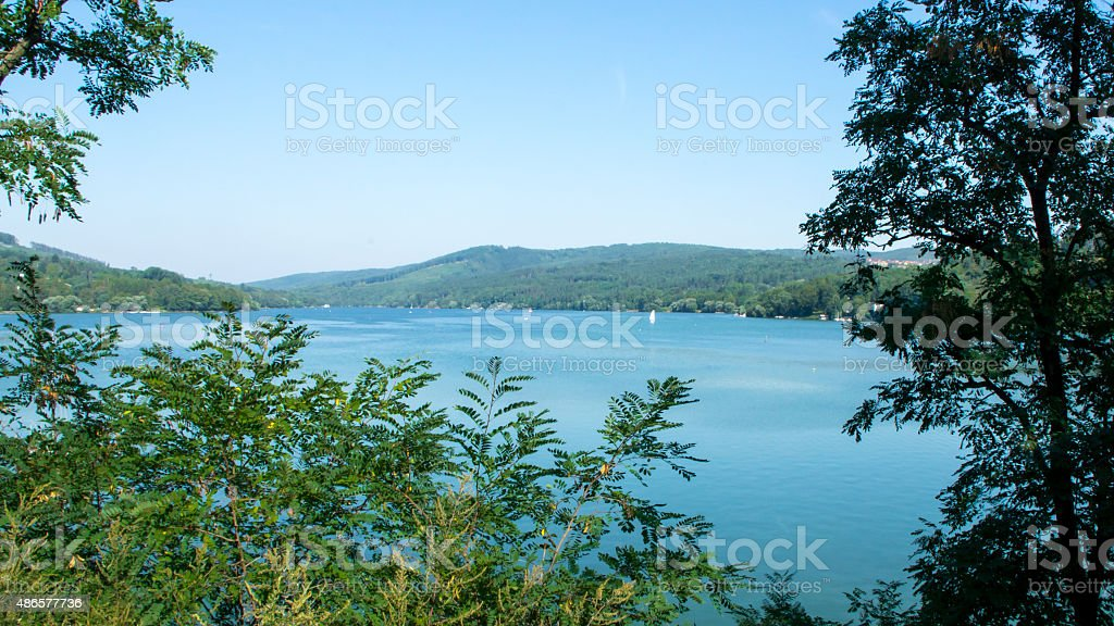 Overview of the reservoir - panorama stock photo