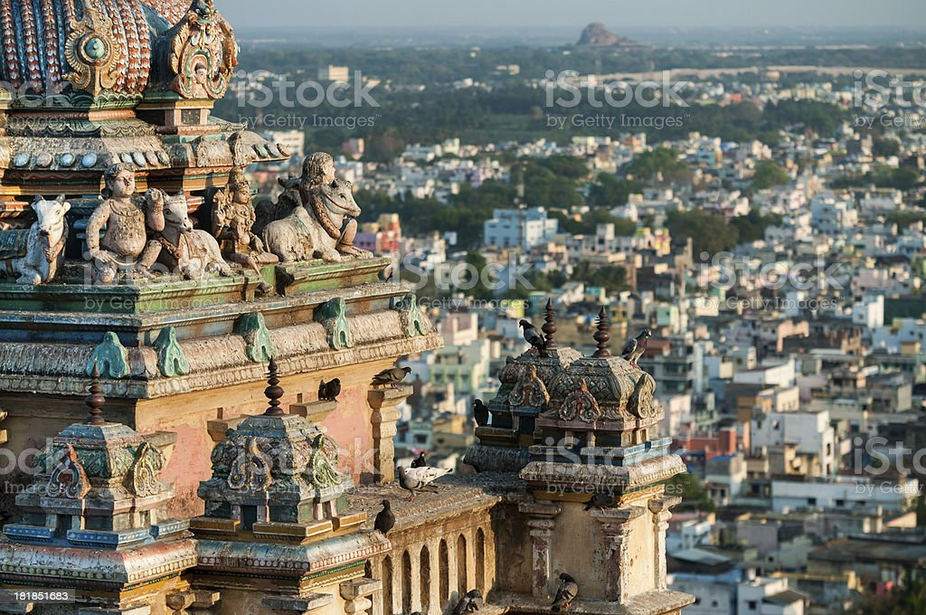 Overview of the Trichy city from Rockfort Temple, Tamil Nadu stock photo